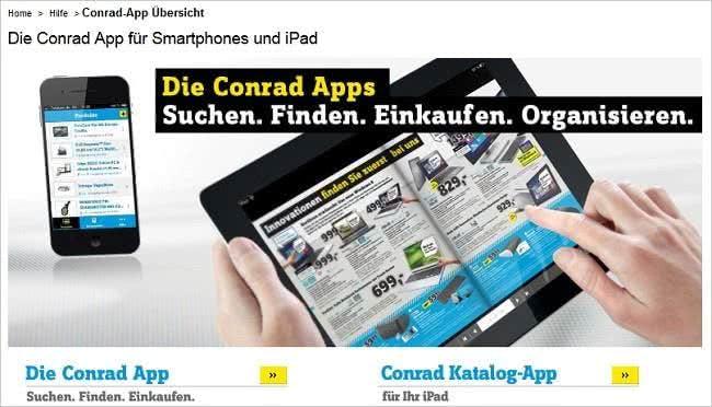 Unterwegs shoppen und sparen mit der Conrad App für Smartphone und Tablet