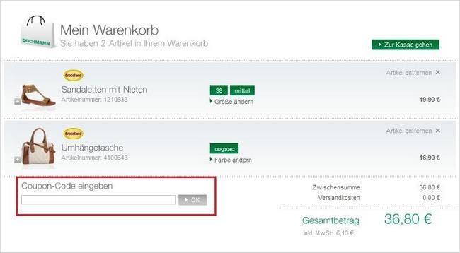 Deichmann-Gutscheincode im Warenkorb eingeben und sparen