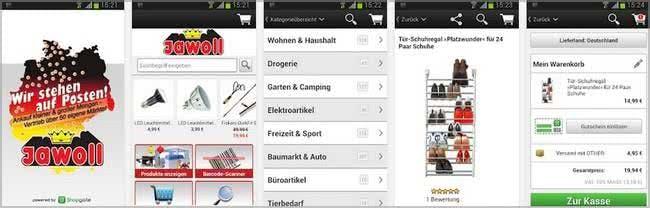 Gutscheine und Schnäppchenangebote via Jawoll-App