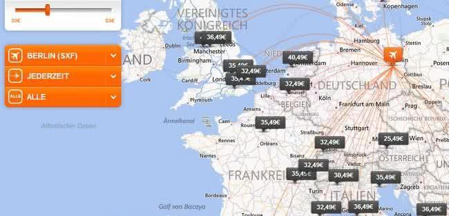 Europäische Flugziele von EasyJet