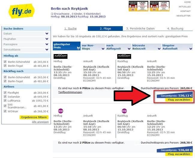 Buchung von Flügen bei fly.de