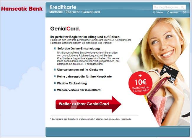 Die GenialCard von der Hanseatic Bank