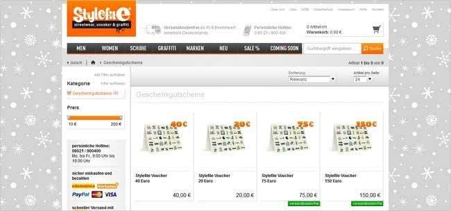 Die Geschenkgutscheine könnt ihr bei Stylefile ab einem Wert von 10 Euro kaufen.