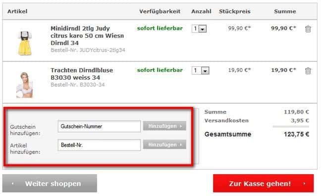 Gutschein einlösen bei Trachten-Dirndl-Shop.de