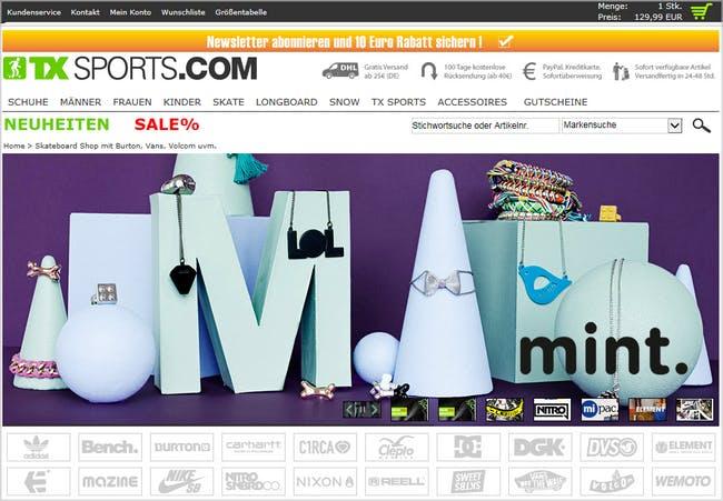 Zahlreiche Markenartikel warten im Shop von TX-Sports auf euch.