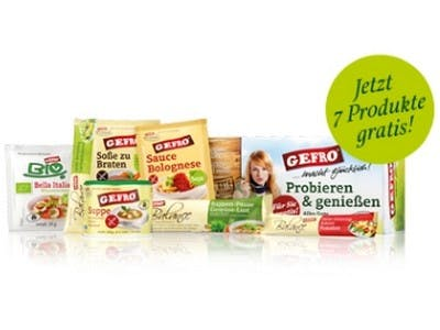 Kostenloses Probierpaket mit 7 Gefro-Produkten
