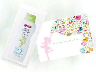 """HiPP Babysanft Milk Lotion""-Produktprobe + Postkarte gratis"