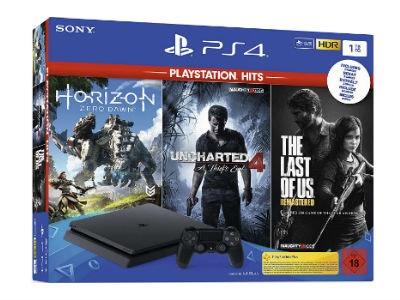 PlayStation 4 - Hits Bundle inkl. Uncharted 4, The Last of Us, Horizon Zero Dawn für 254,99€