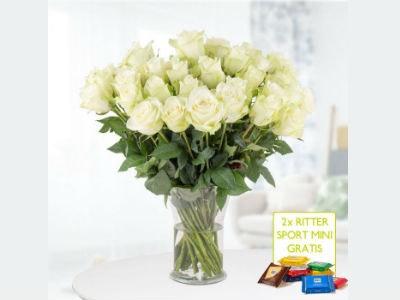 40 weiße Rosen + 2 gratis Mini-Schokis für nur 24,90€ inkl. Versandkosten