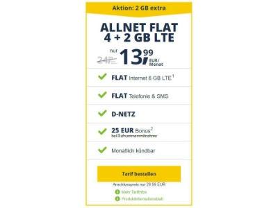 6 GB LTE Allnet Flat für nur 13,99€ mtl.