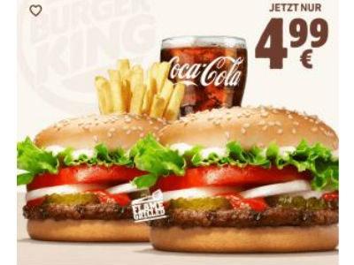 4,99€: 2x Whopper Jr. + mittl. Pommes + Getränk (App)